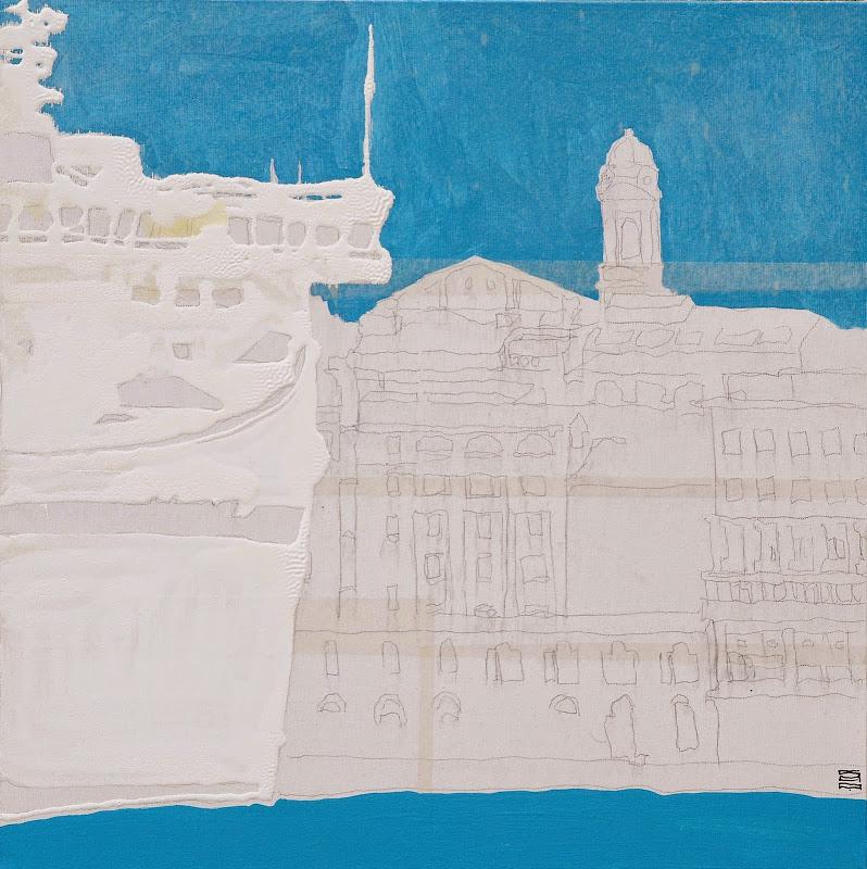 Ancona dal mare 01_2010 (50x50cm) tecnica mista su tela | Andrea Silicati Pittore