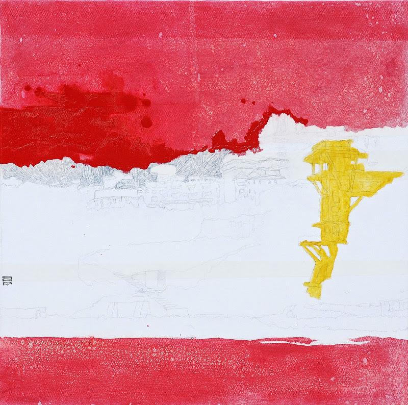 Ancona dal mare 02_2010 (50x50cm) tecnica mista su tela | Andrea Silicati Pittore