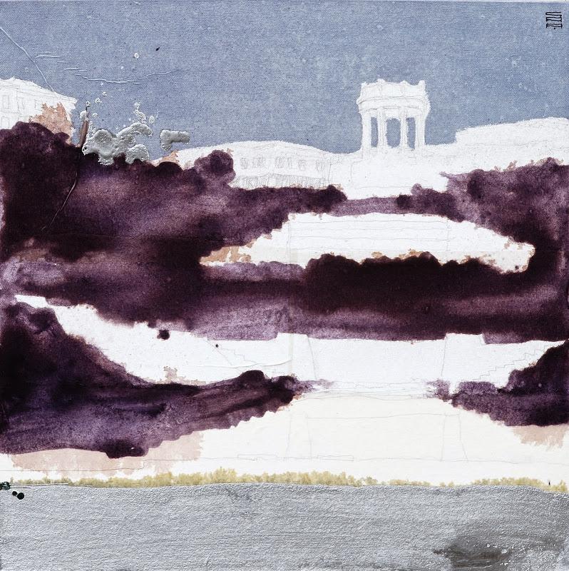 Ancona dal mare 03_2010 (50x50cm) tecnica mista su tela | Andrea Silicati Pittore